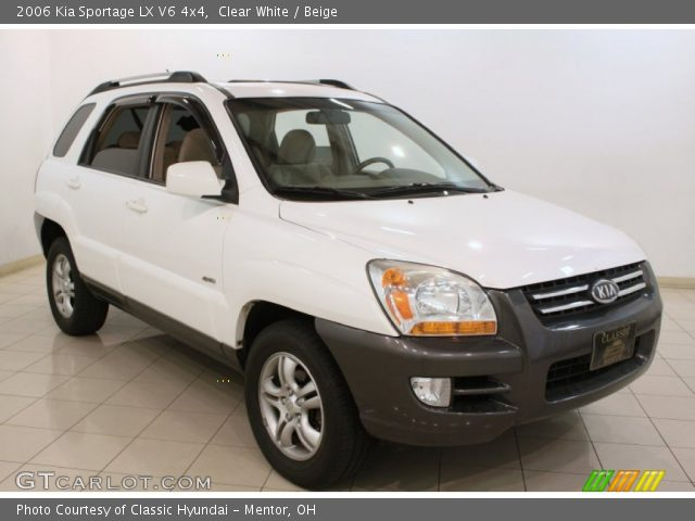 clear white 2006 kia sportage lx v6 4x4 beige interior. Black Bedroom Furniture Sets. Home Design Ideas