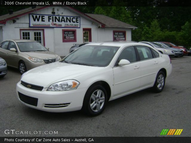 white 2006 chevrolet impala ls ebony black interior. Black Bedroom Furniture Sets. Home Design Ideas