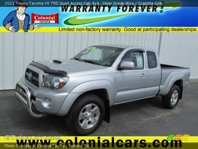 silver streak mica 2011 toyota tacoma v6 trd sport access cab 4x4 graphite gray interior. Black Bedroom Furniture Sets. Home Design Ideas