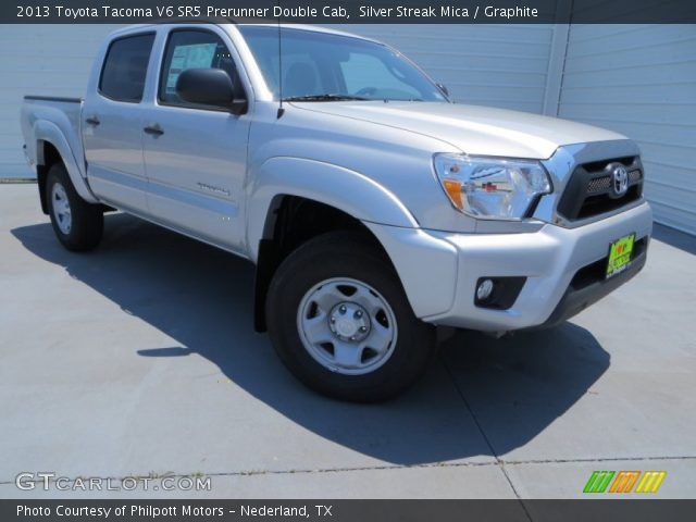 silver streak mica 2013 toyota tacoma v6 sr5 prerunner double cab graphite interior. Black Bedroom Furniture Sets. Home Design Ideas