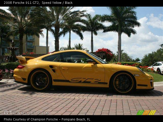 speed yellow 2008 porsche 911 gt2 black interior vehicle archive 808842. Black Bedroom Furniture Sets. Home Design Ideas