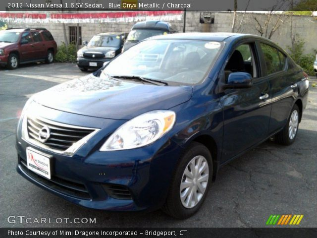 blue onyx metallic 2012 nissan versa 1 6 sv sedan charcoal interior vehicle. Black Bedroom Furniture Sets. Home Design Ideas