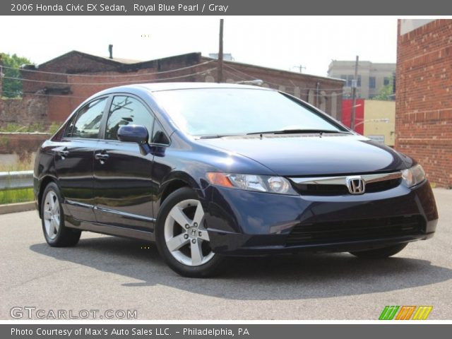 royal blue pearl 2006 honda civic ex sedan gray. Black Bedroom Furniture Sets. Home Design Ideas