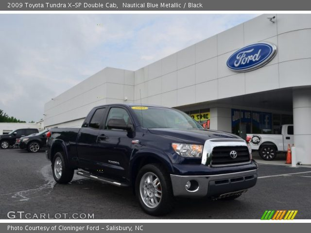 nautical blue metallic 2009 toyota tundra x sp double cab black interior. Black Bedroom Furniture Sets. Home Design Ideas
