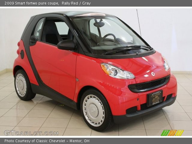 rally red 2009 smart fortwo pure coupe gray interior vehicle archive 81288313. Black Bedroom Furniture Sets. Home Design Ideas
