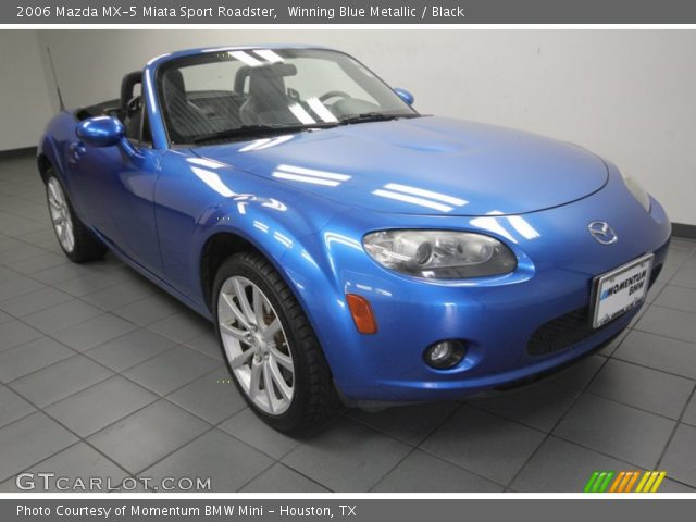 winning blue metallic 2006 mazda mx 5 miata sport roadster black interior. Black Bedroom Furniture Sets. Home Design Ideas