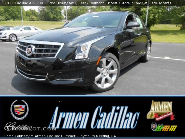 black diamond tricoat 2013 cadillac ats 2 0l turbo luxury awd morello red jet black accents. Black Bedroom Furniture Sets. Home Design Ideas