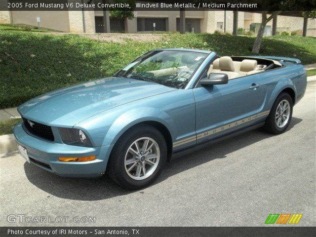 Windveil Blue Metallic 2005 Ford Mustang V6 Deluxe Convertible Medium Parchment Interior