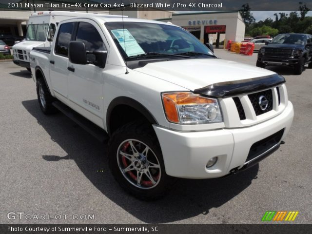 blizzard white 2011 nissan titan pro 4x crew cab 4x4 pro 4x charcoal interior. Black Bedroom Furniture Sets. Home Design Ideas