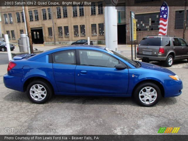 Bright Blue 2003 Saturn Ion 2 Quad Coupe Blue Interior