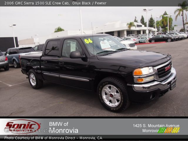 onyx black 2006 gmc sierra 1500 sle crew cab pewter interior vehicle. Black Bedroom Furniture Sets. Home Design Ideas