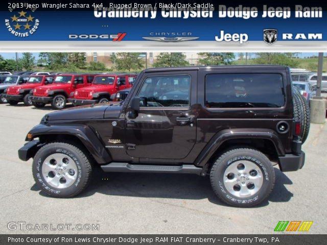 Rugged Brown 2013 Jeep Wrangler Sahara 4x4 Black Dark Saddle Interior