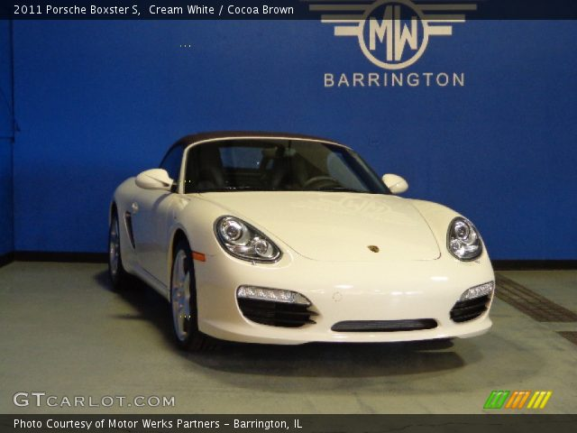 cream white 2011 porsche boxster s cocoa brown interior vehicle archive. Black Bedroom Furniture Sets. Home Design Ideas