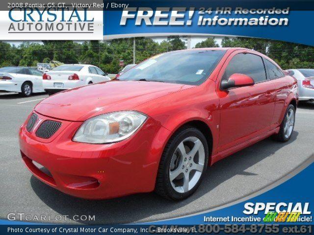 Victory Red 2008 Pontiac G5 Gt Ebony Interior