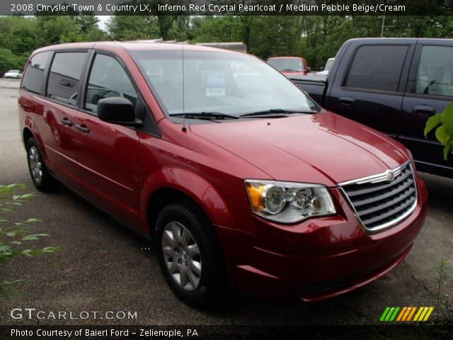 inferno red crystal pearlcoat 2008 chrysler town country lx medium pebble beige cream. Black Bedroom Furniture Sets. Home Design Ideas
