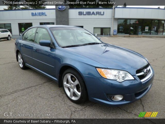 newport blue pearl 2008 subaru legacy limited sedan warm ivory interior. Black Bedroom Furniture Sets. Home Design Ideas