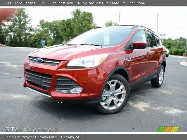 ruby red metallic 2013 ford escape se 2 0l ecoboost 4wd medium light stone interior. Black Bedroom Furniture Sets. Home Design Ideas