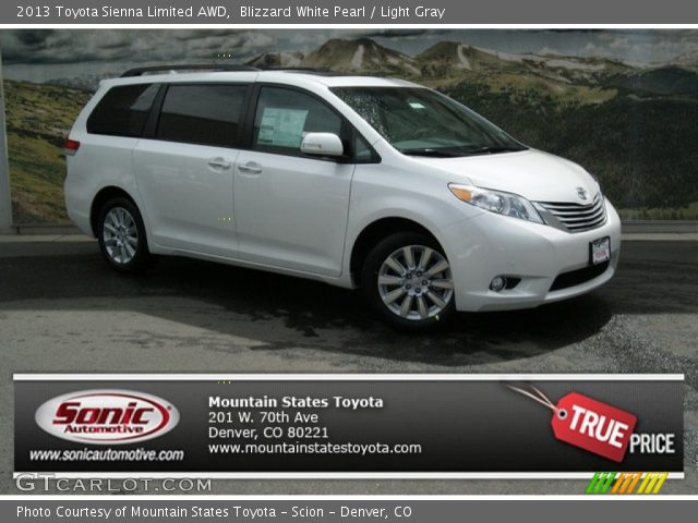 blizzard white pearl 2013 toyota sienna limited awd. Black Bedroom Furniture Sets. Home Design Ideas