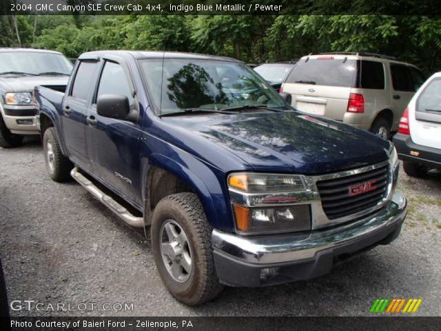 indigo blue metallic 2004 gmc canyon sle crew cab 4x4 pewter interior. Black Bedroom Furniture Sets. Home Design Ideas