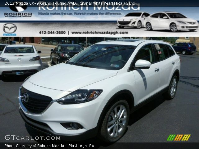 crystal white pearl mica 2013 mazda cx 9 grand touring awd sand interior. Black Bedroom Furniture Sets. Home Design Ideas