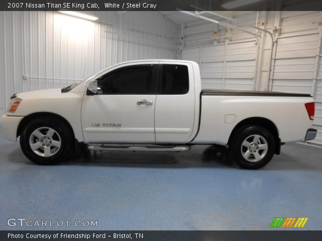 white 2007 nissan titan se king cab steel gray interior vehicle archive. Black Bedroom Furniture Sets. Home Design Ideas