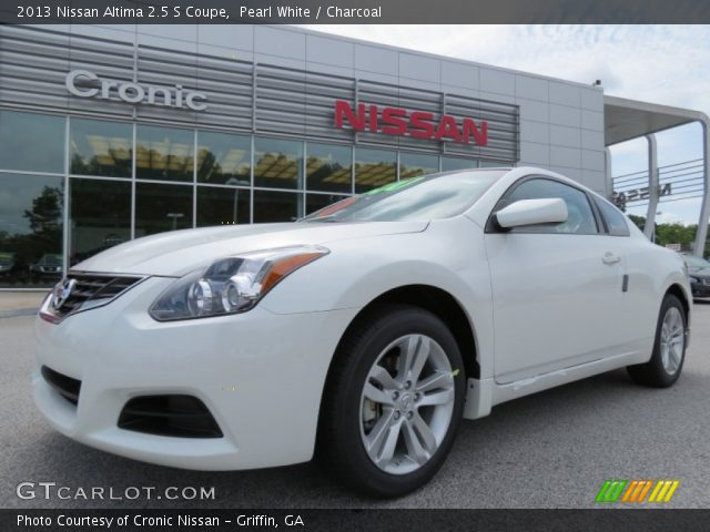 pearl white 2013 nissan altima 2 5 s coupe charcoal interior vehicle. Black Bedroom Furniture Sets. Home Design Ideas