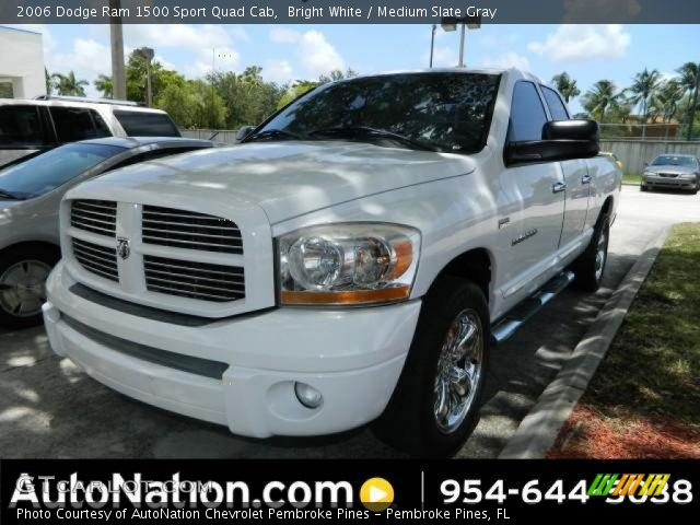 bright white 2006 dodge ram 1500 sport quad cab medium slate gray interior. Black Bedroom Furniture Sets. Home Design Ideas