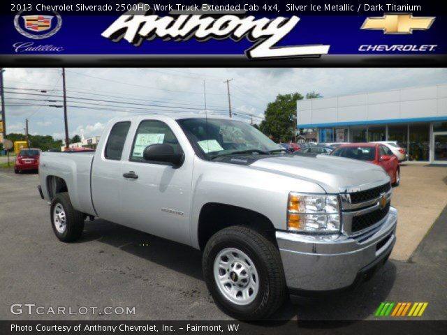 silver ice metallic 2013 chevrolet silverado 2500hd work truck extended cab 4x4 dark. Black Bedroom Furniture Sets. Home Design Ideas