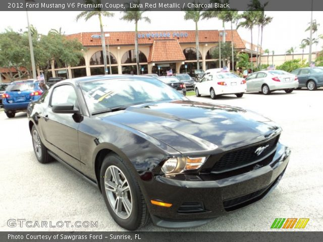 lava red metallic 2012 ford mustang v6 premium coupe charcoal black interior. Black Bedroom Furniture Sets. Home Design Ideas