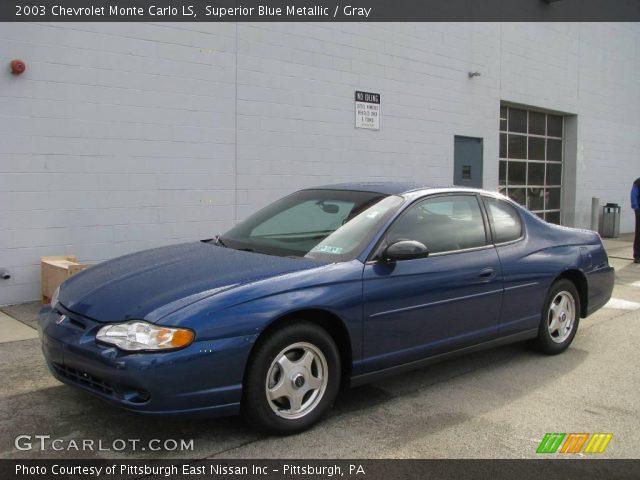 superior blue metallic 2003 chevrolet monte carlo ls gray interior vehicle. Black Bedroom Furniture Sets. Home Design Ideas