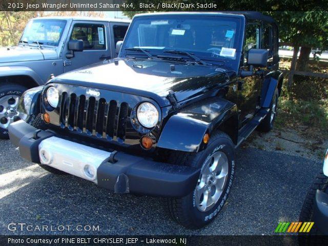 Black 2013 Jeep Wrangler Unlimited Sahara 4x4 Black Dark Saddle Interior