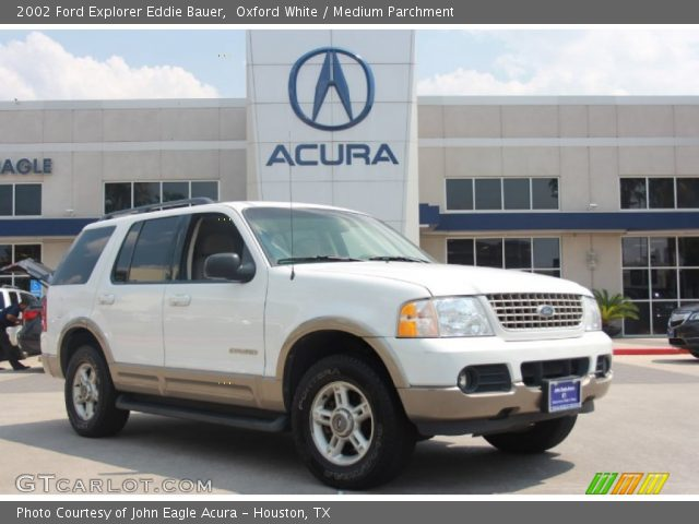 oxford white 2002 ford explorer eddie bauer medium parchment interior. Black Bedroom Furniture Sets. Home Design Ideas