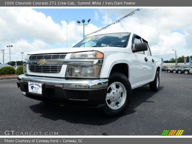 summit white 2006 chevrolet colorado z71 crew cab very dark pewter interior. Black Bedroom Furniture Sets. Home Design Ideas