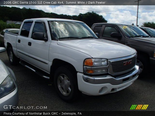 summit white 2006 gmc sierra 1500 sle crew cab 4x4 dark pewter interior. Black Bedroom Furniture Sets. Home Design Ideas