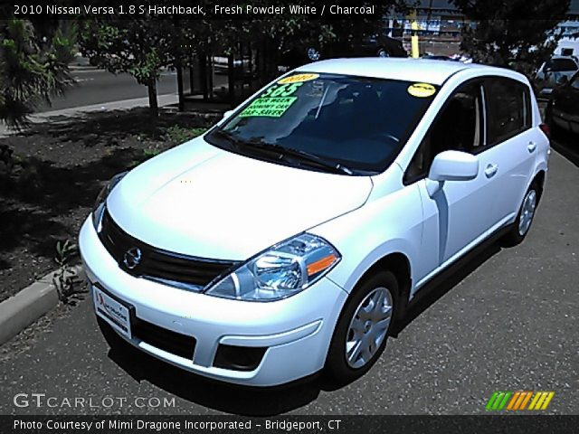 fresh powder white 2010 nissan versa 1 8 s hatchback. Black Bedroom Furniture Sets. Home Design Ideas