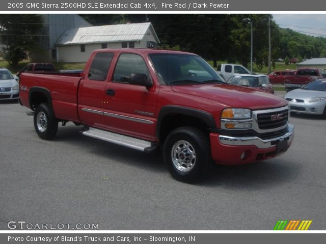 fire red 2005 gmc sierra 2500hd sle extended cab 4x4 dark pewter interior. Black Bedroom Furniture Sets. Home Design Ideas