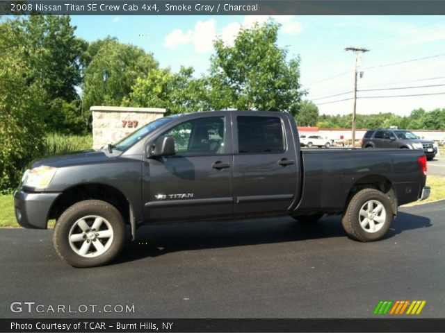 smoke gray 2008 nissan titan se crew cab 4x4 charcoal interior vehicle. Black Bedroom Furniture Sets. Home Design Ideas