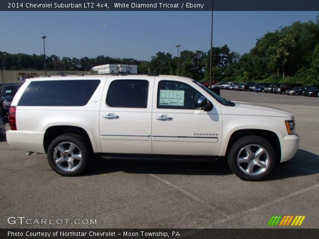 White Diamond Tricoat 2014 Chevrolet Suburban Ltz 4x4 Ebony Interior