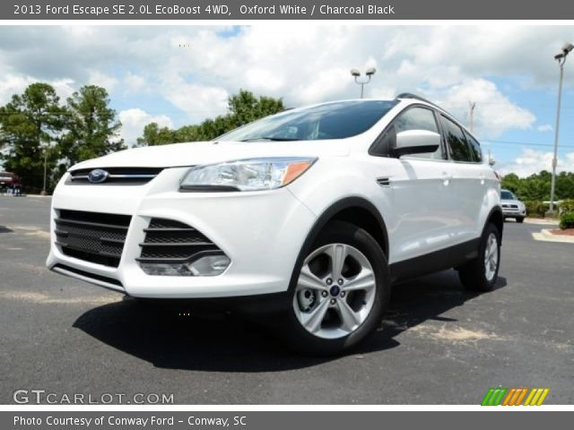 oxford white 2013 ford escape se 2 0l ecoboost 4wd charcoal black interior. Black Bedroom Furniture Sets. Home Design Ideas