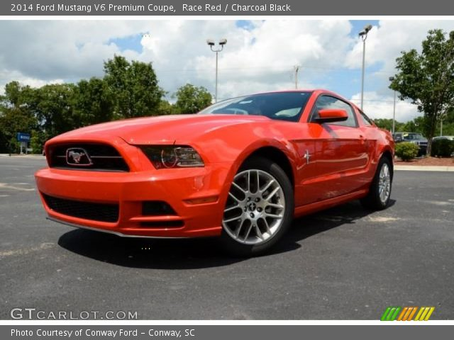 race red 2014 ford mustang v6 premium coupe charcoal black interior vehicle. Black Bedroom Furniture Sets. Home Design Ideas
