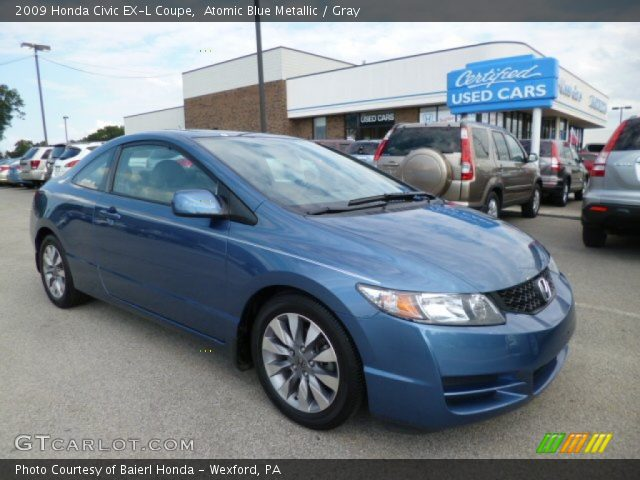 atomic blue metallic 2009 honda civic ex l coupe gray interior vehicle. Black Bedroom Furniture Sets. Home Design Ideas