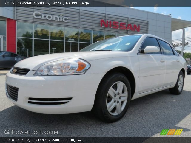white 2006 chevrolet impala ls neutral beige interior. Black Bedroom Furniture Sets. Home Design Ideas