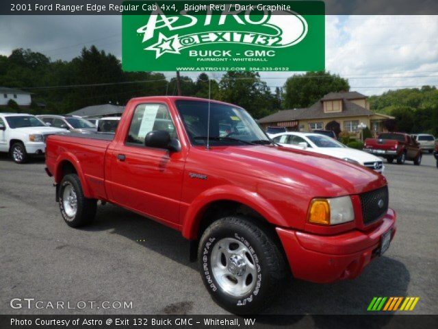 bright red 2001 ford ranger edge regular cab 4x4 dark graphite interior. Black Bedroom Furniture Sets. Home Design Ideas