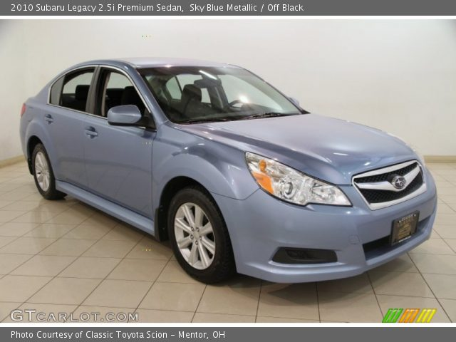 sky blue metallic 2010 subaru legacy premium sedan off black interior. Black Bedroom Furniture Sets. Home Design Ideas