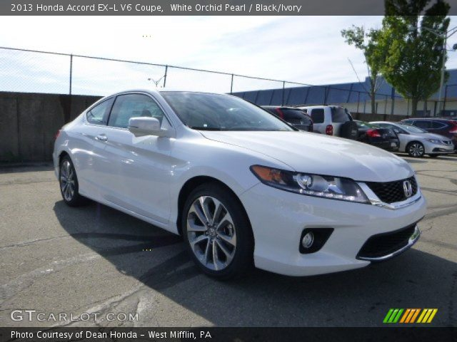 white orchid pearl 2013 honda accord ex l v6 coupe black ivory interior. Black Bedroom Furniture Sets. Home Design Ideas