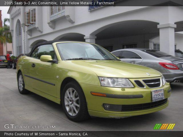 lime yellow metallic 2005 saab 9 3 arc convertible parchment interior. Black Bedroom Furniture Sets. Home Design Ideas