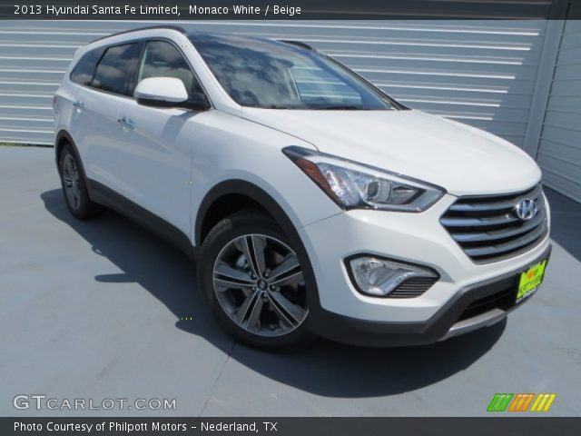 monaco white 2013 hyundai santa fe limited beige interior vehicle archive. Black Bedroom Furniture Sets. Home Design Ideas