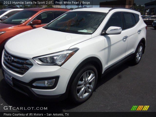 frost white pearl 2013 hyundai santa fe sport 2 0t beige interior vehicle. Black Bedroom Furniture Sets. Home Design Ideas