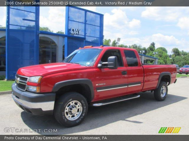 victory red 2006 chevrolet silverado 2500hd ls extended cab 4x4 medium gray interior. Black Bedroom Furniture Sets. Home Design Ideas