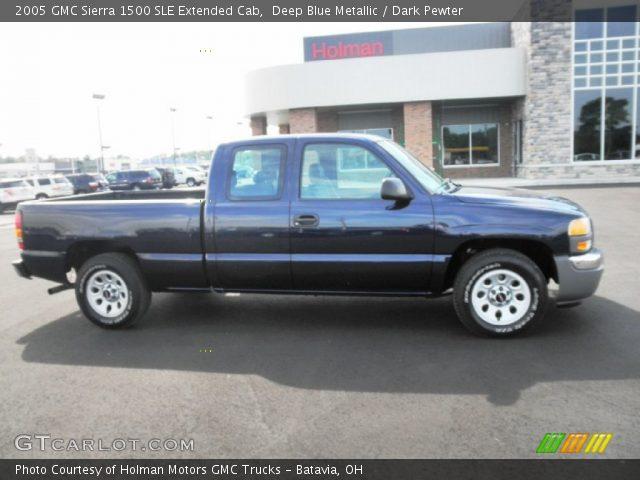deep blue metallic 2005 gmc sierra 1500 sle extended cab dark pewter interior. Black Bedroom Furniture Sets. Home Design Ideas